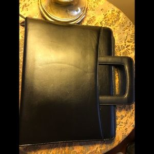 Other - Black Leather three ring binder carrying case
